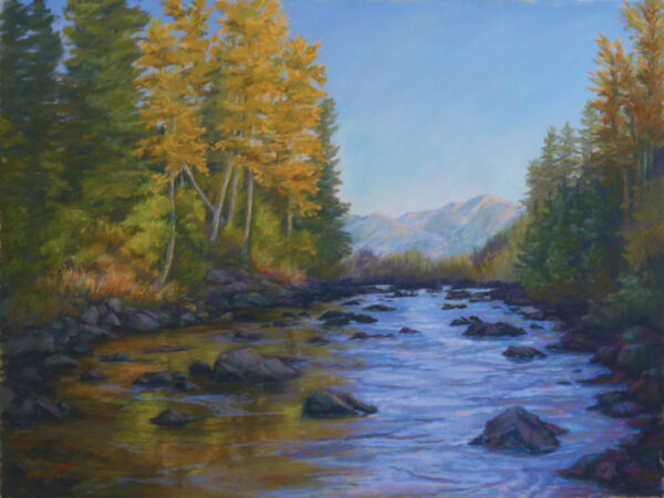 Original pastel painting by Francesca Droll of the Swan River in northwest Montana