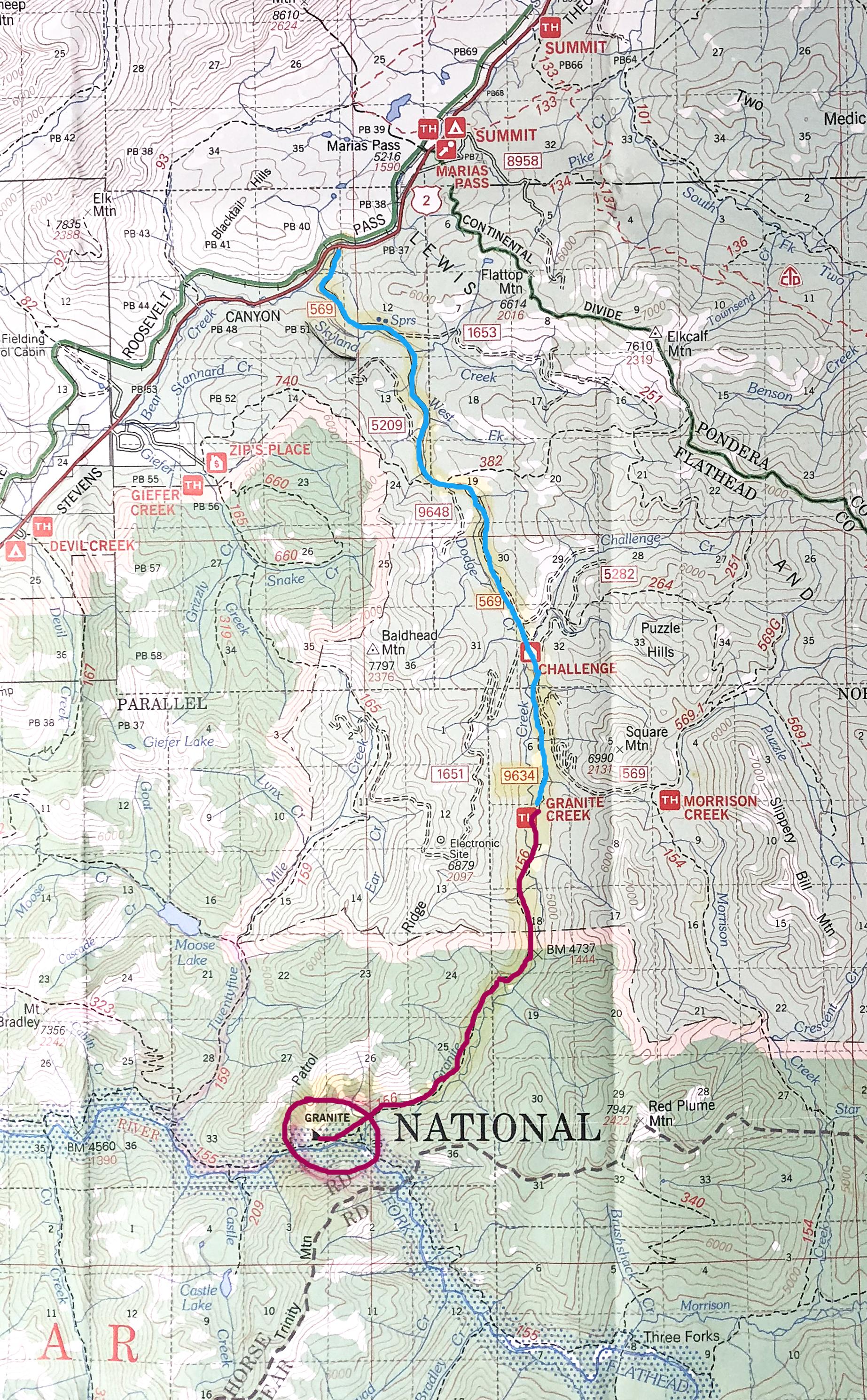 Map to Granite Creek Cabin