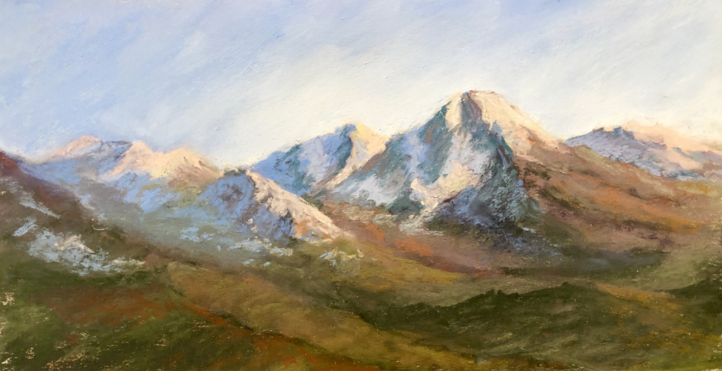 An original pastel painting by Francesca Droll of the Mission Mountains in northwest Montana