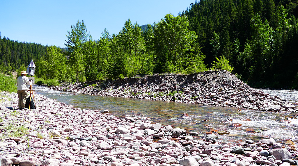Photo of painting on the Flathead River