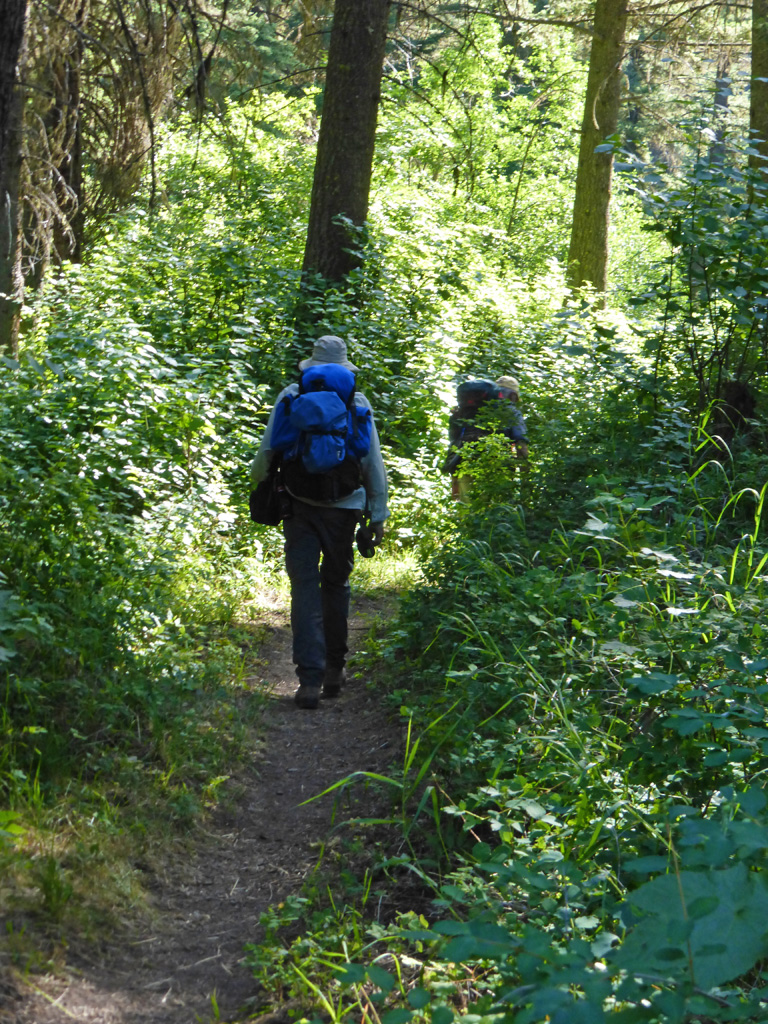 Photo of John and Randy hiking down the trail.