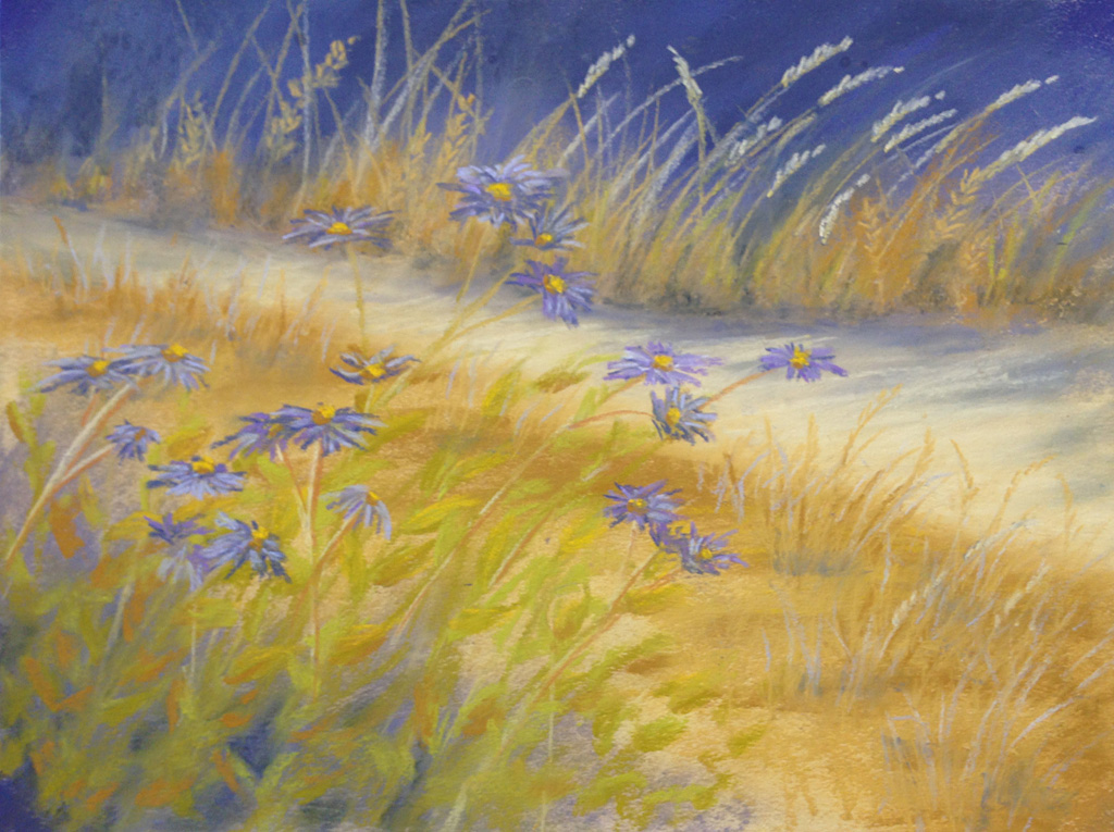 Photo of a painting of aspen daisies.
