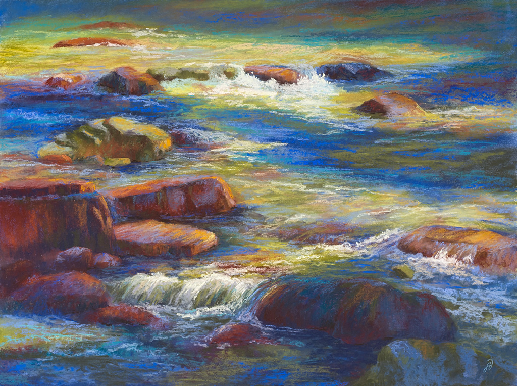 A pastel painting by Francesca Droll titled Rock 'n' Flow I