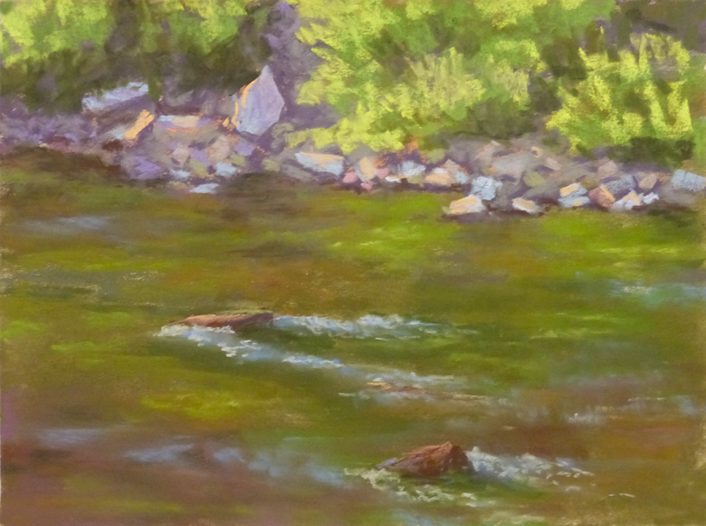 Photo of a painting of the Flathead River.