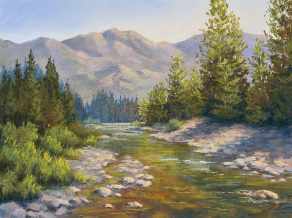 A pastel painting by Francesca Droll titled Where the Trout Play