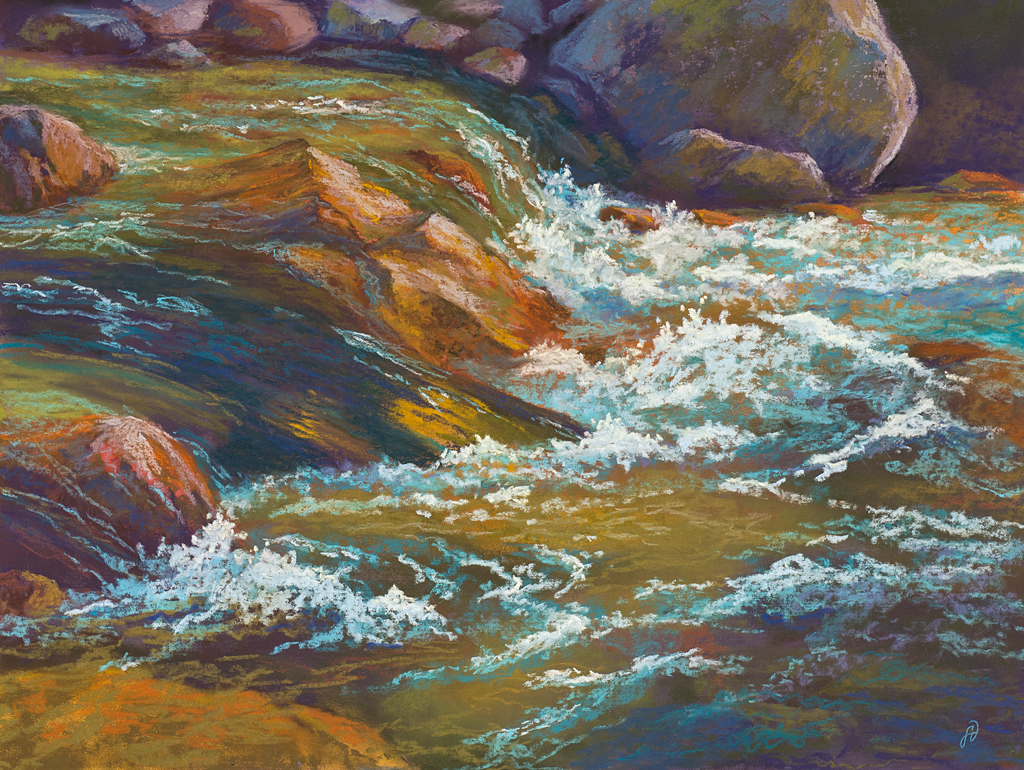 A pastel painting by Francesca Droll titled Rock 'n' Flow III