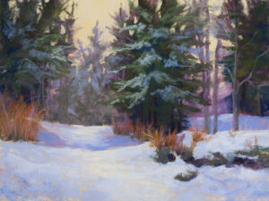 A pastel painting by Francesca Droll titled A Mid-Winter Afternoon