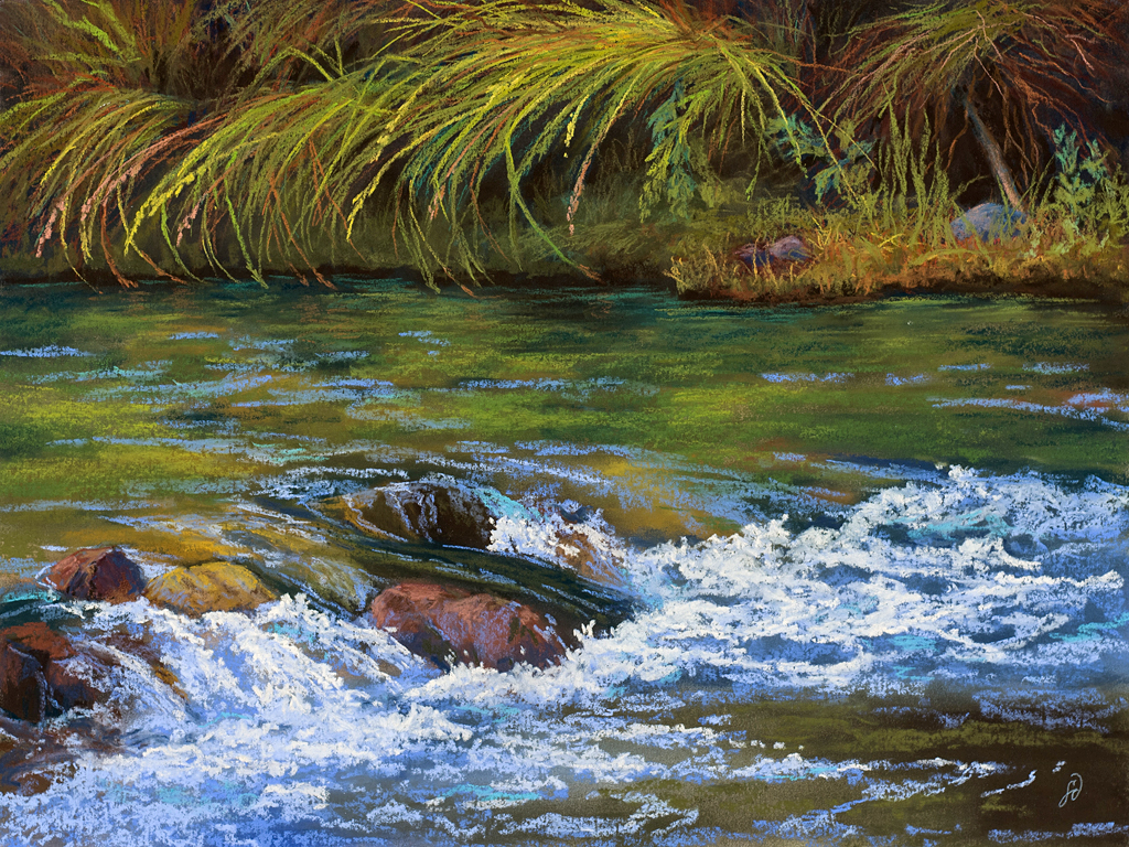 A pastel painting by Francesca Droll titled Going With the Flow