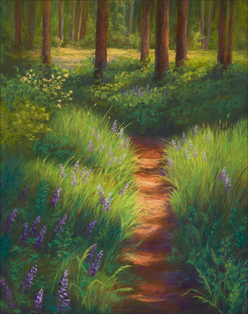 A pastel painting by Francesca Droll titled Sunlit Bliss