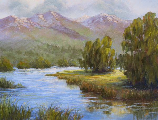 A pastel painting by Francesca Droll titled Mission Valley Sanctuary