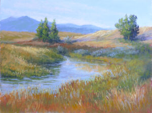 A pastel painting by Francesca Droll titled Sounds of Solitude