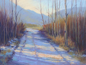 A pastel painting by Francesca Droll titled Early Winter at the Swan Wildlife Refuge