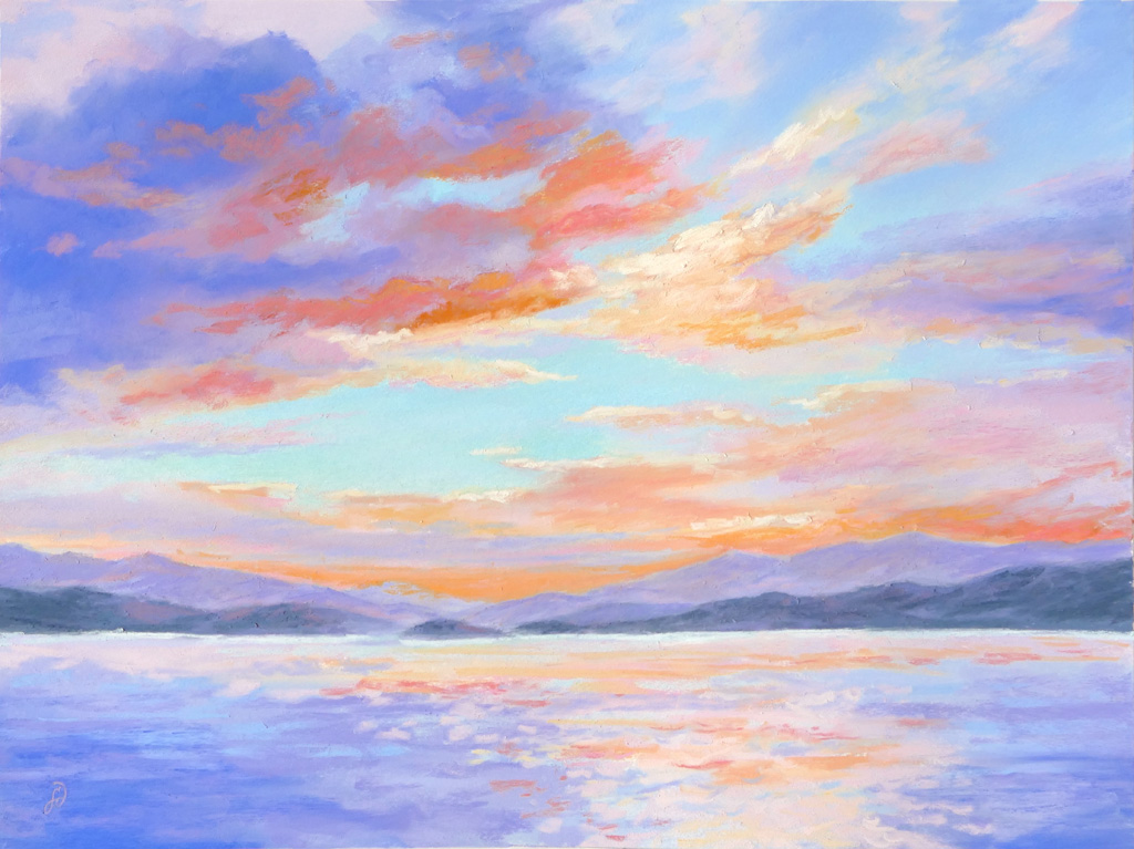 A pastel painting by Francesca Droll titled Flathead Lake Evening