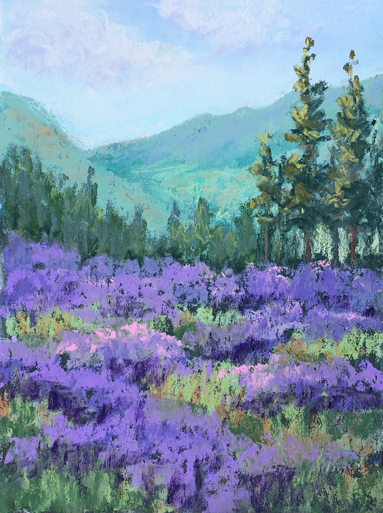 Pastel Painting of Purple Mountain Lavender Farm.