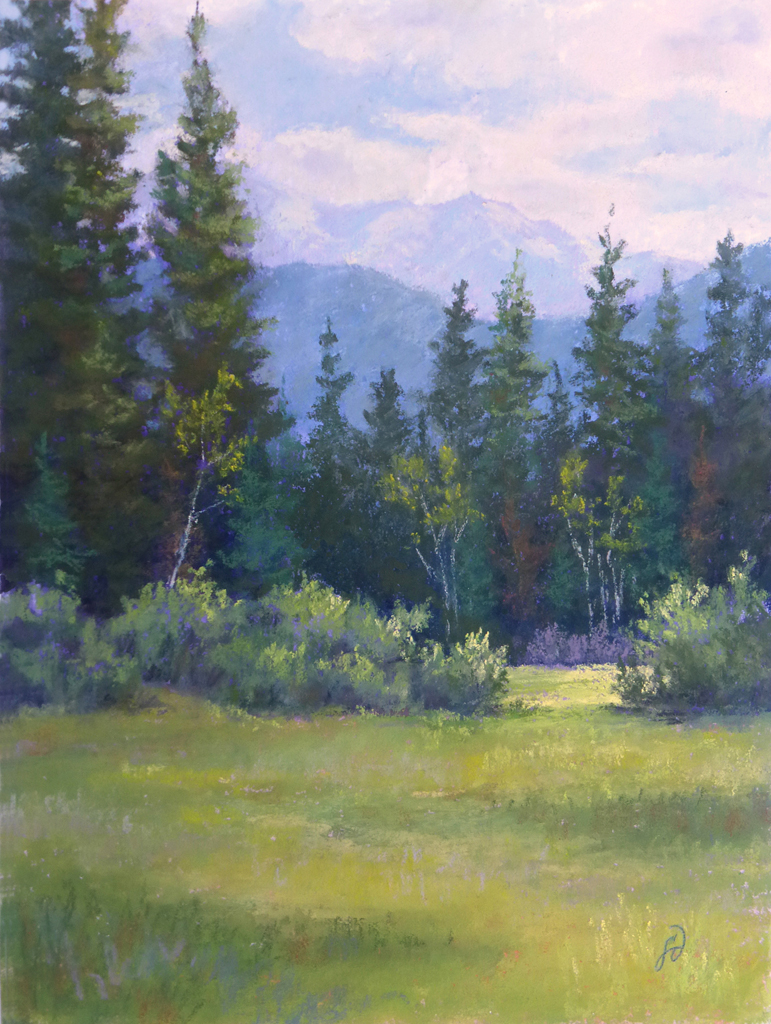 Pastel painting of forest