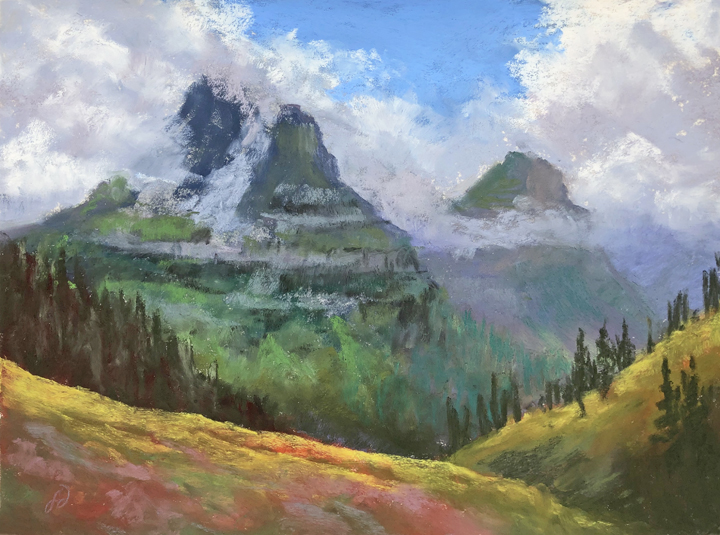 Photo of Francesca Droll's painting of Glacier National Park