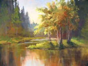 Pastel painting of a Swan River scene in northwest Montana