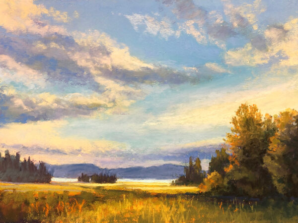 Pastel painting of the north shore of Flathead Lake in Montana.