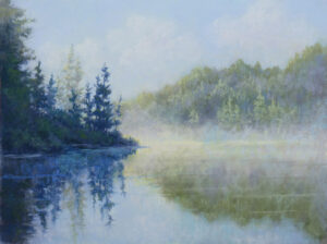 An original pastle painting by Francesca Droll of Horseshoe Lake in northwest Montana