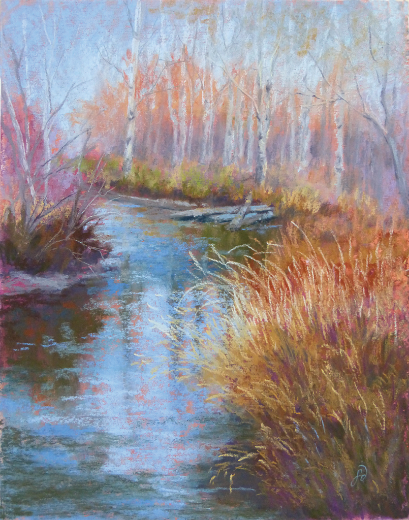 An original pastle painting by Francesca Droll of Ashley Creek in northwest Montana