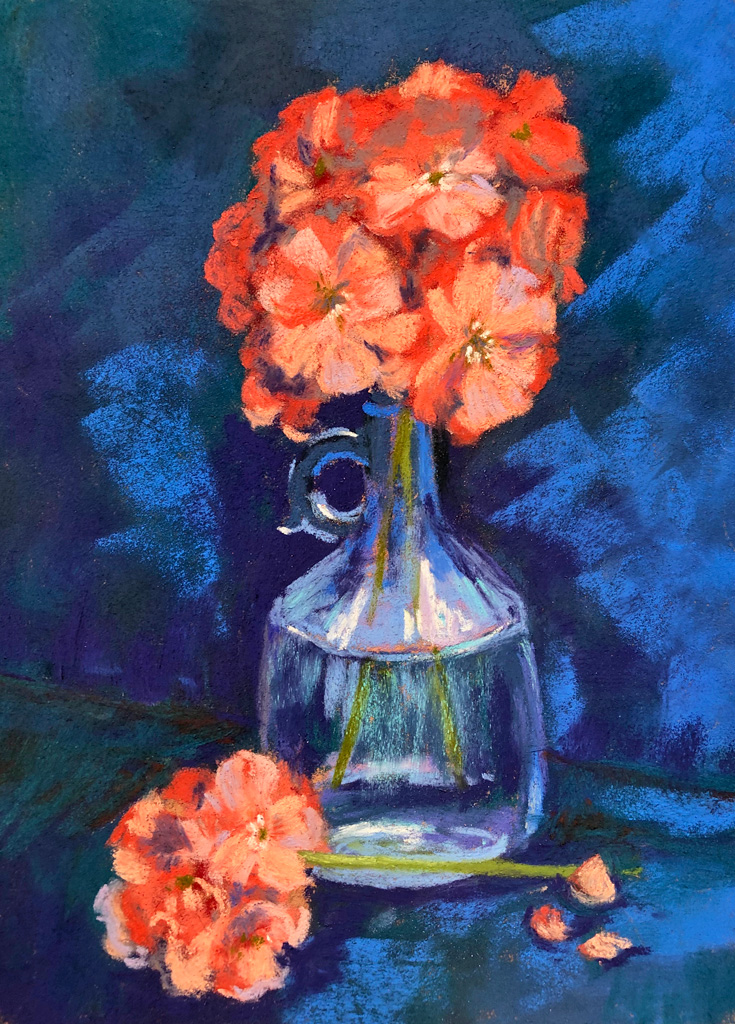 Photo of painting of coral geraniums.