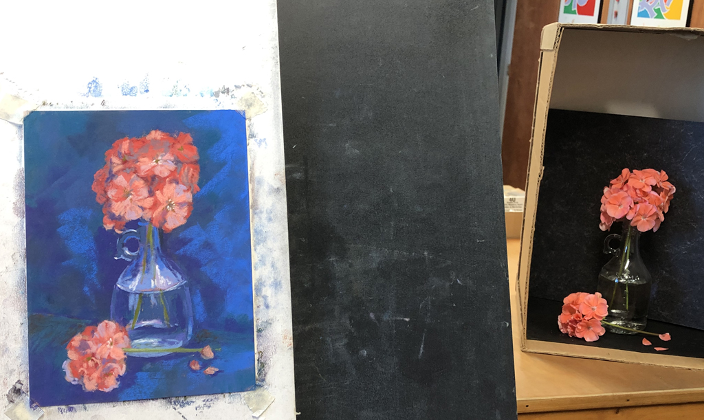 Photo of painting setup of coral geraniums.