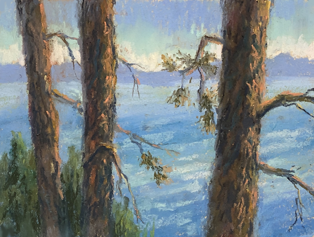 Photo of painting of forest light.