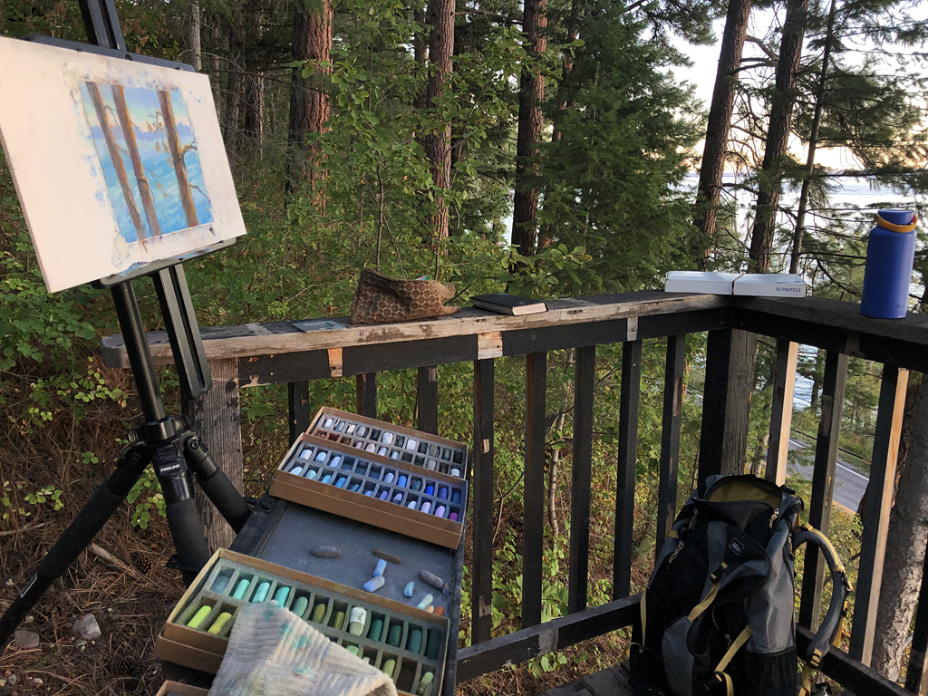 Photo of painting setup of forest light.