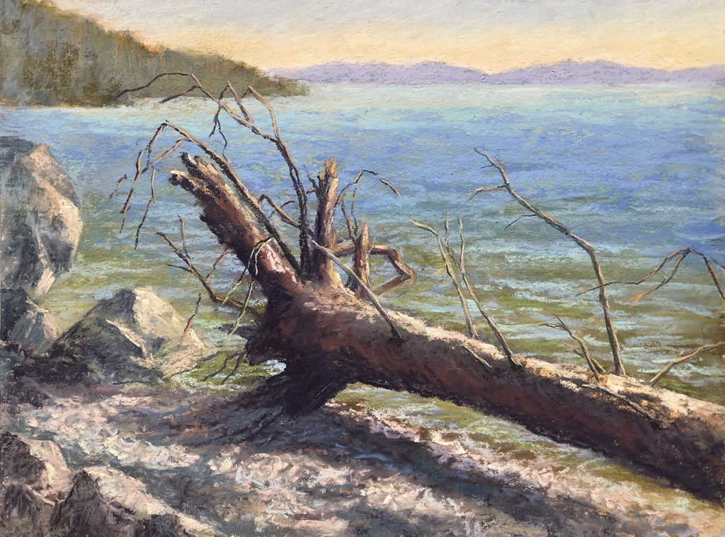Pastel painting of a log beached on Flathead Lake shoreline.