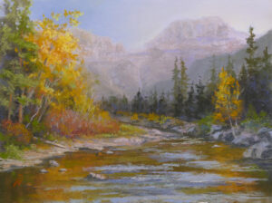 Photo of painting of Glacier National Park.