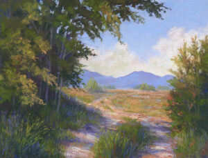 Photo of painting of Flathead Valley in Montana..