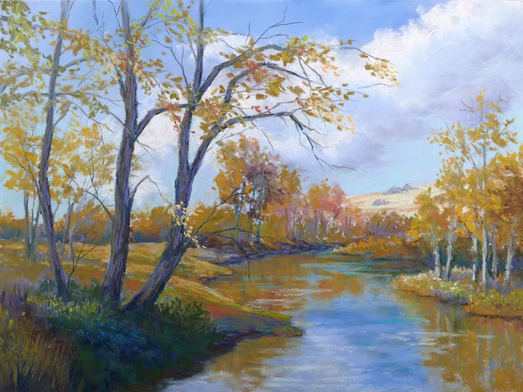 Photo of painting of Basin Creek near Basin, Montana.