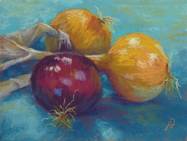 Photo of painting of a trio of onions.