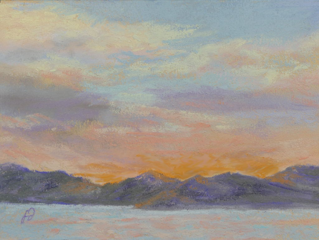 Photo of painting of Flathead Lake.