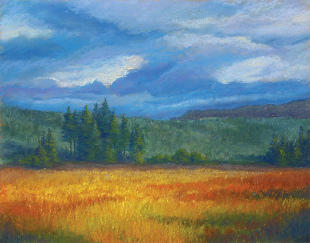 Photo of notecard that shows a pastel painting.