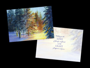 Photo of a holiday notecard depicting a pastel painting