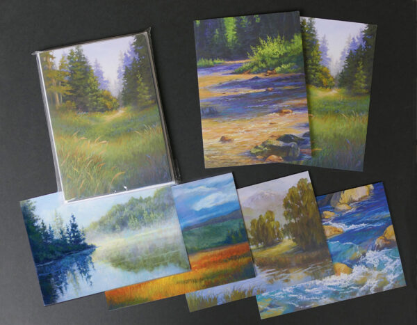 Photo of notecards of 6 pastel paintings.