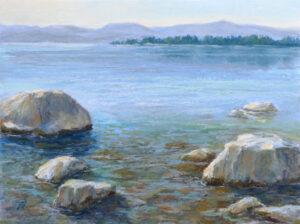 Painting of Flathead Lake by Francesca Droll.