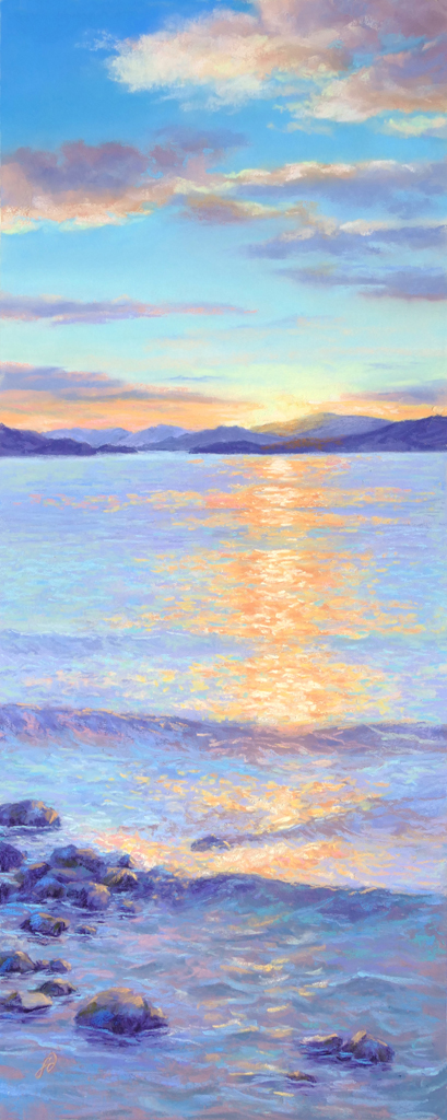 Pastel painting of Flathead Lake by Francesca Droll.