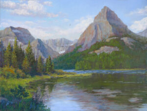 Photo of pastel painting of Glacier National Park.