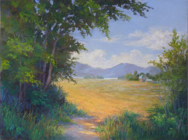 Pastel painting of meadow on the north end of Flathead Lake in Montana.
