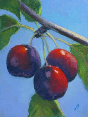 Pastel painting of cherries