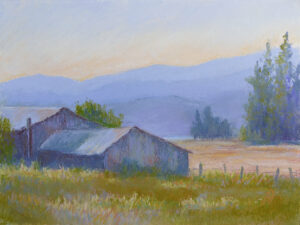 Pastel Painting of a barn in the Flathead Valley.