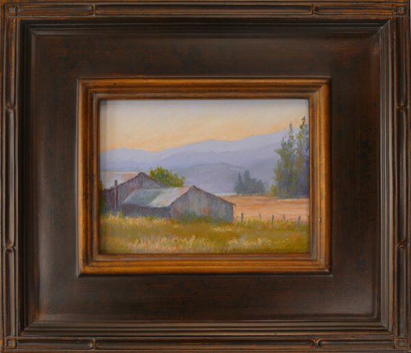 Pastel Painting of a barn in the Flathead Valley with frame.