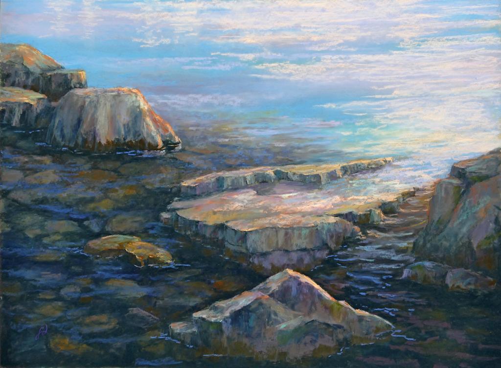 Pastel painting of rocks in Flathead Lake.
