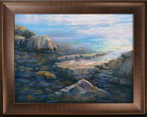 Pastel painting of rocks in Flathead Lake. Framed.