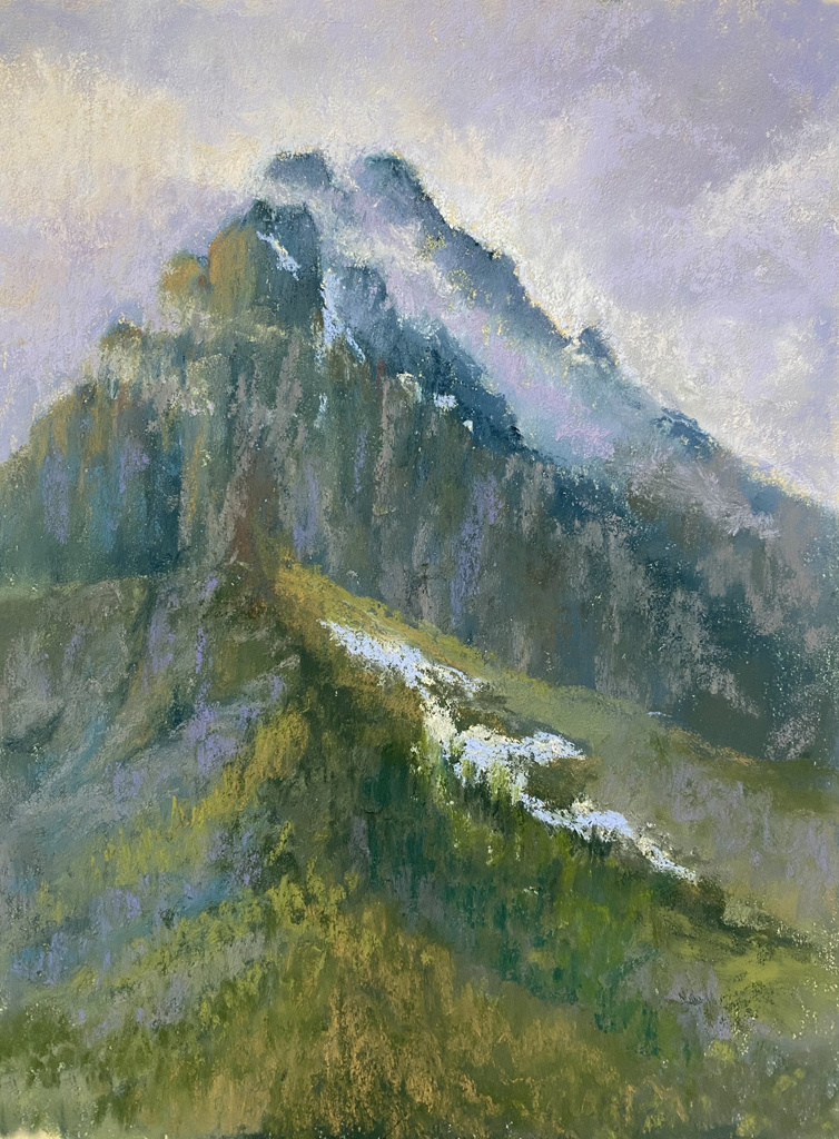 Photo of pastel painting of Grinnell Point.