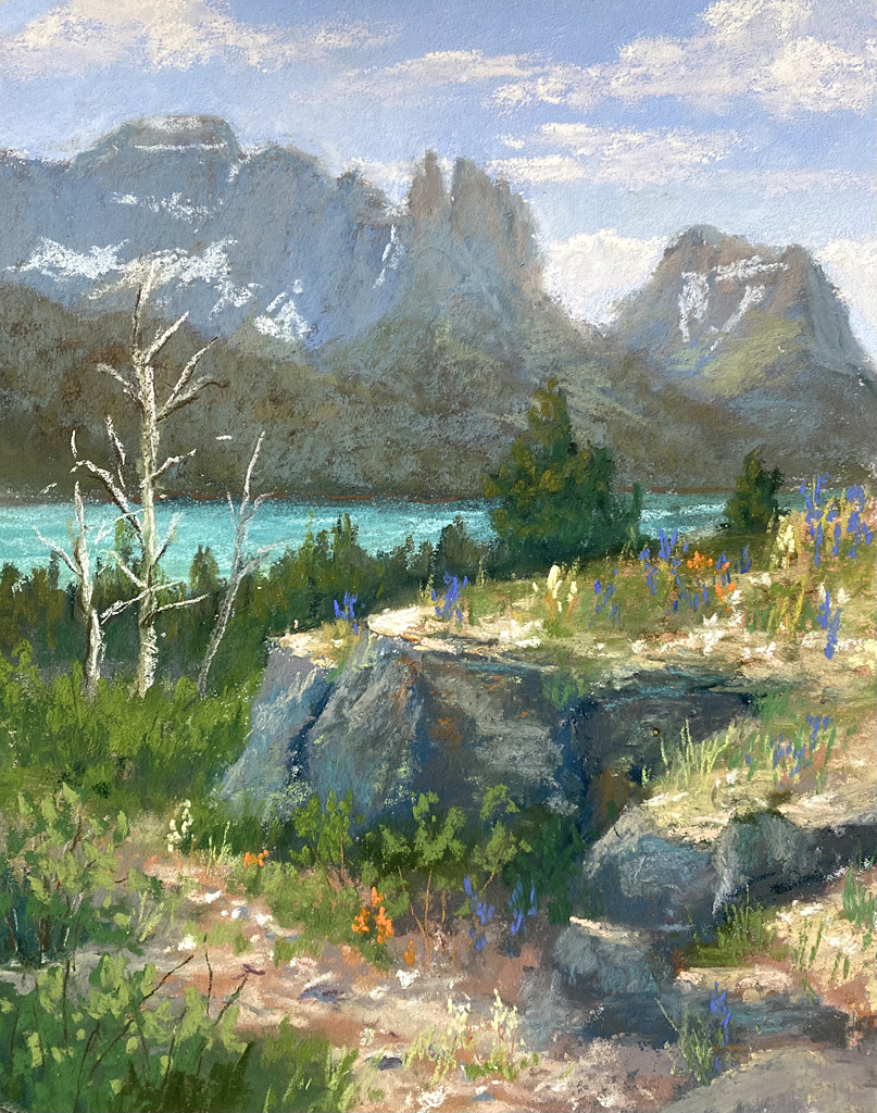 Photo of pastel painting of a view at Sun Point.