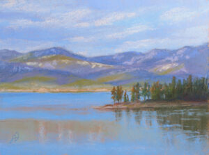 Pastel painting of Flathead Lake and Yenne Point.