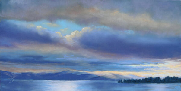 Pastel painting of Flathead Lake with sunlight breaking through.